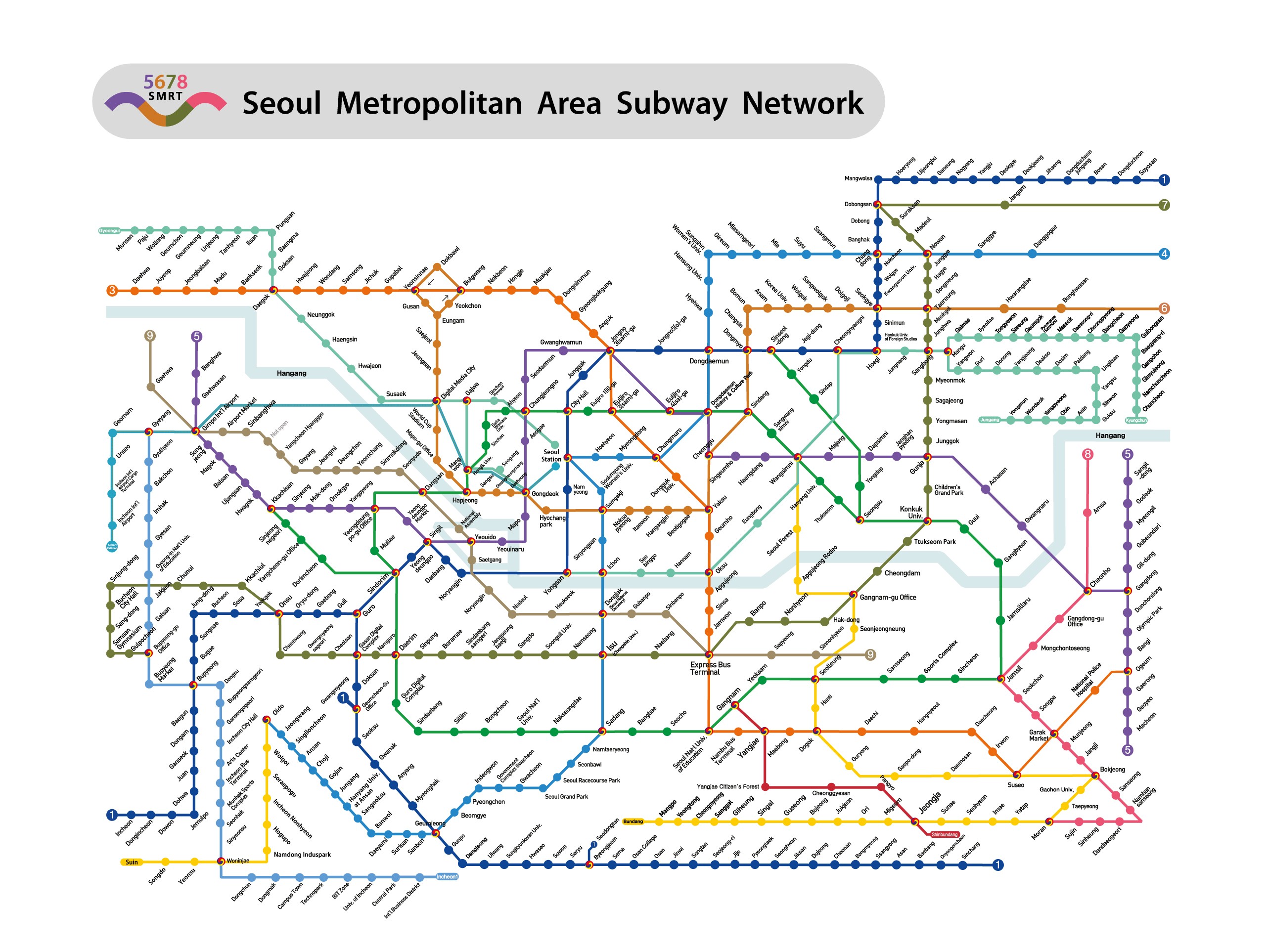 Korea Subway Map 2014.One Of The Best Subway Systems In The World Seoul City Subway System Hiexpat Korea